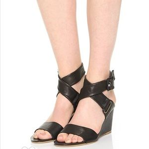Rag & Bone Black Leather Ankle Strap Wedge